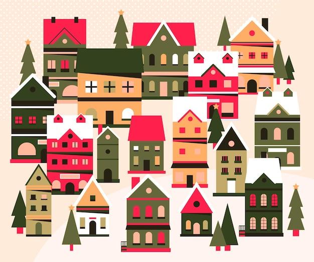 Ilustración de pueblo de navidad plana
