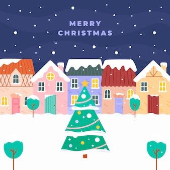 Ilustración de pueblo navideño plano