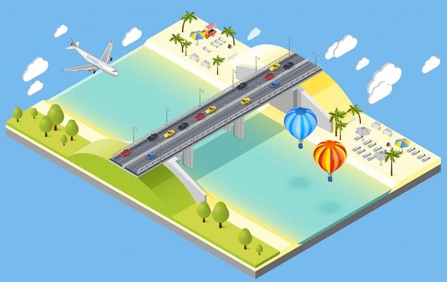 Ilustración de puente y playa resort