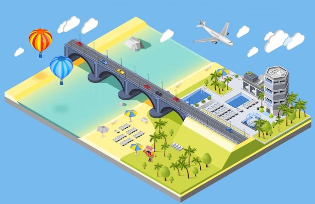 Ilustración de puente y playa