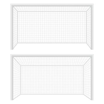 Ilustración de puerta de fútbol sobre fondo blanco.