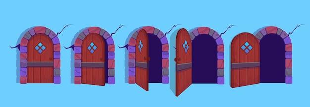 Ilustración de las puertas de halloween abiertas y cerradas.
