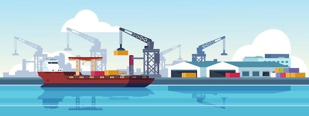 Ilustración del puerto marino