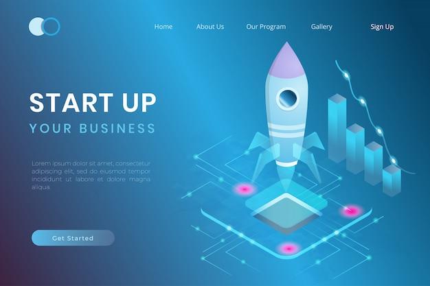Ilustración de la puesta en marcha utilizando símbolos de naves espaciales, crecimiento de la inversión en empresas en línea, estilo de ilustración isométrica de gestión del trabajo en equipo