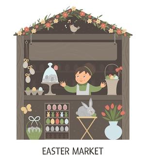Ilustración del puesto del mercado de pascua con vendedora con lugar para el texto. pequeña tienda con artículos de vacaciones de primavera. banner de estilo de dibujos animados lindo con huevos, conejito, flores.