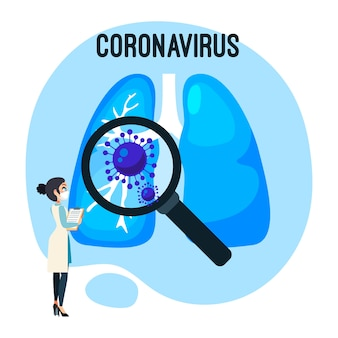 Ilustración de pulmones concepto coronavirus