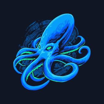 Ilustración de pulpo de mar azul