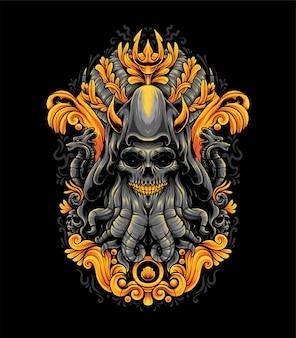 Ilustración de pulpo o monstruo de cthulhu. adecuado para camisetas o productos de merchandising.