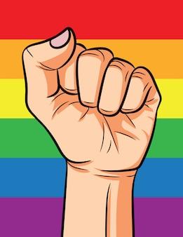 Ilustración puño en el fondo del arco iris.