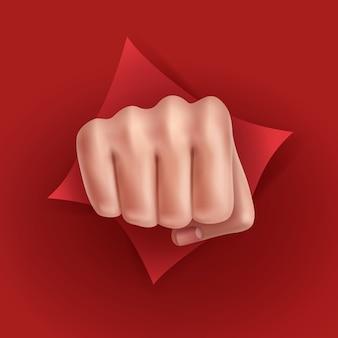Ilustración de puño perforado a través de papel rojo