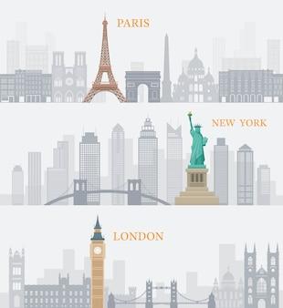 Ilustración de puntos de referencia mundialmente conocidos