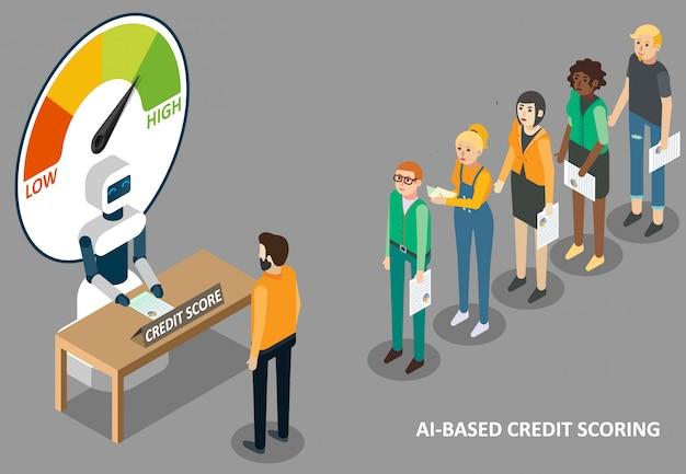Ilustración de puntuación de crédito de ai