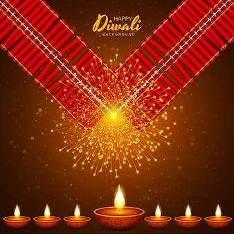 Ilustración de la quema de diya en felices fiestas de diwali