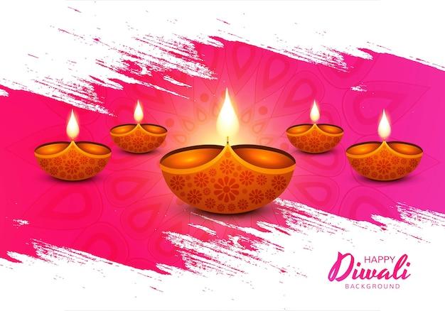Ilustración de la quema de diya en el fondo de feliz día de fiesta de diwali