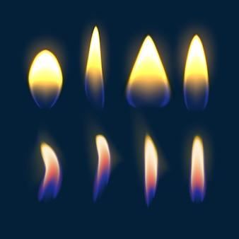 Ilustración de la quema de fuego multicolor, llama de vela sobre fondo azul.