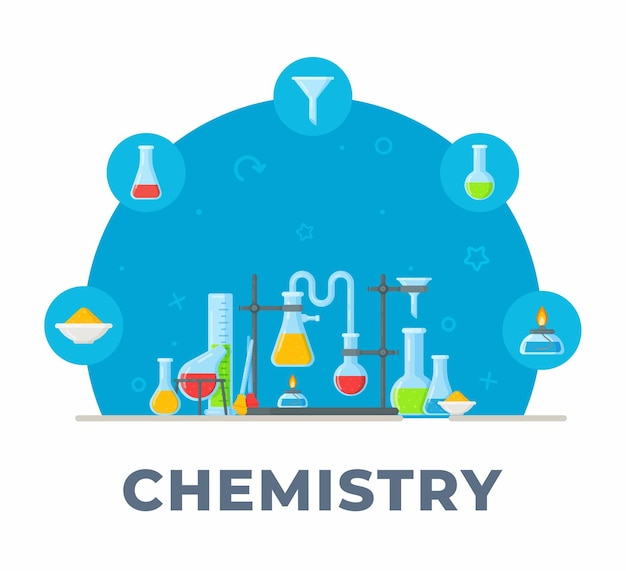 Ilustración de química e instrumentos químicos de fórmulas mezcla de estilo químico en matraces y tubos de ensayo