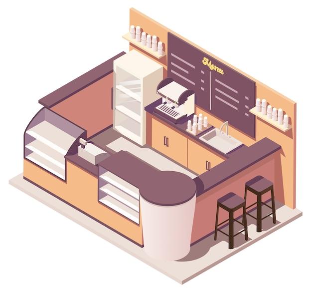 Ilustración de quiosco de café isométrico
