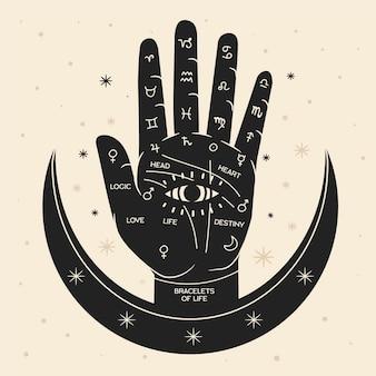 Ilustración quiromancia con la mano