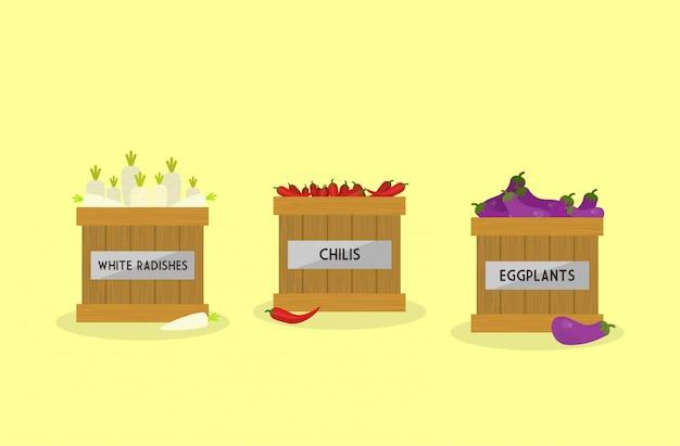 Ilustración de rábanos blancos, chiles y huevo.
