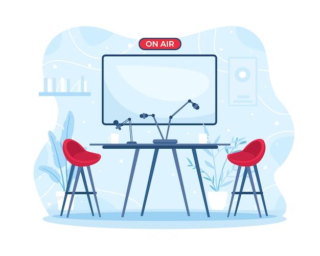 Ilustración radio interior o sala de podcast