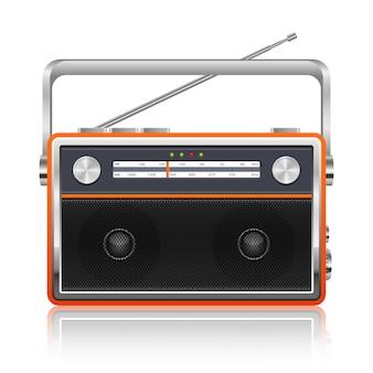 Ilustración de radio vintage portátil sobre fondo blanco.