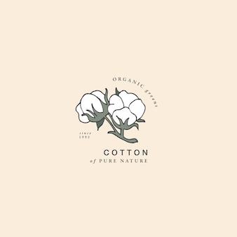 Ilustración, rama de algodón, vendimia, grabado, estilo Vector Premium