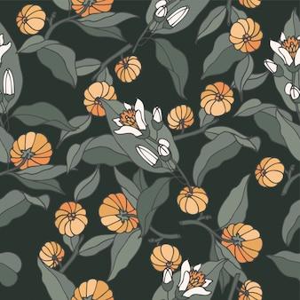 Ilustración rama de bergamia de cítricos - estilo vintage grabado. patrón sin costuras en estilo botánico retro.