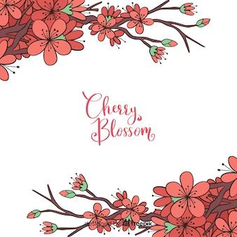 Ilustración rama cerezo florecido dibujada a mano