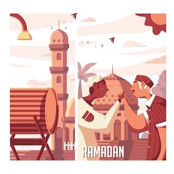 Ilustración de ramadan kareem bedug