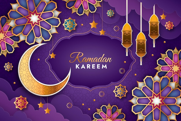 Ilustración de ramadan kareem en estilo papel