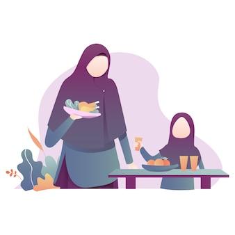 Ilustración de ramadán kareem con ilustración de la familia musulmana