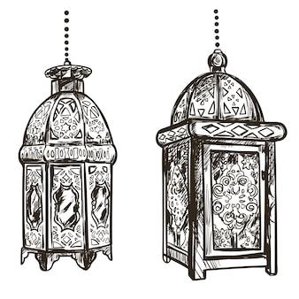 Ilustración de ramadán kareem con linterna oriental