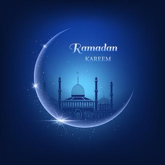 Ilustración de ramadán kareem con luna, destellos, brillos, mezquita azul sobre un fondo de cielo azul nocturno y texto de ramadán kareem. hermosa tarjeta de felicitación para el festival de la comunidad musulmana.