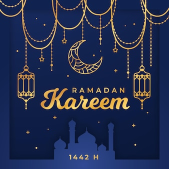 Ilustración de ramadan kareem plana