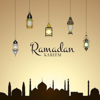 Ilustración de ramadán con linternas y silueta de ciudad árabe con fondo de cielo degradado y lugar para texto