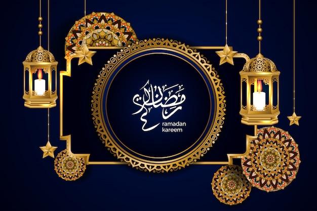 Ilustración de ramadán de lujo con hermoso mandala y linterna de oro