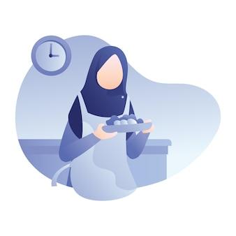Ilustración de ramadán con mujer musulmana prepara comida para iftar