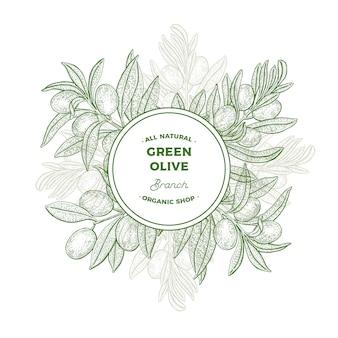 Ilustración de ramas de olivo