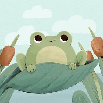 Ilustración de rana acuarela pintada a mano