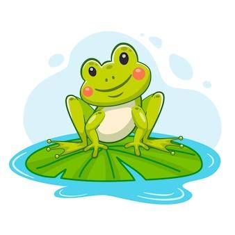 Ilustración de rana adorable de dibujos animados