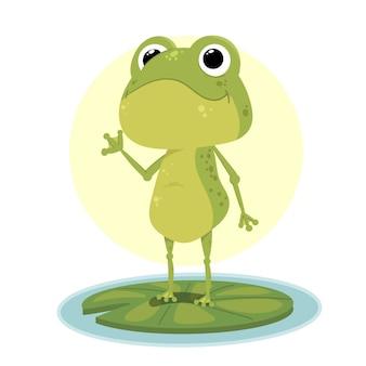 Ilustración de rana adorable de diseño plano