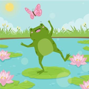 Ilustración de rana adorable plana orgánica