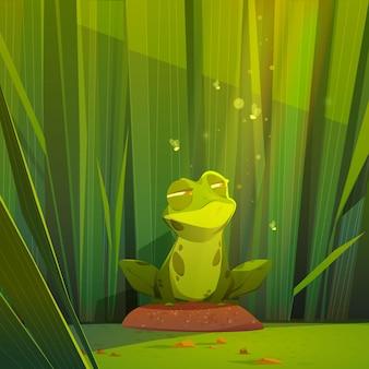 Ilustración de rana de dibujos animados plana