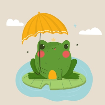 Ilustración de rana de dibujos animados