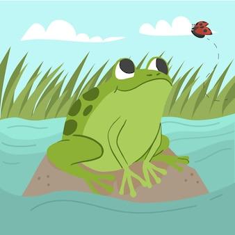 Ilustración de rana linda de diseño plano