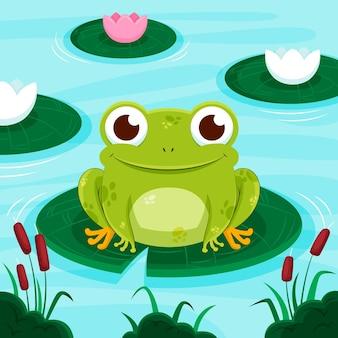 Ilustración de rana linda plana