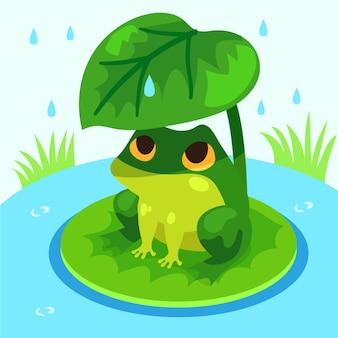 Ilustración de rana plana con ojos grandes