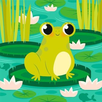 Ilustración de rana plana orgánica vector gratuito