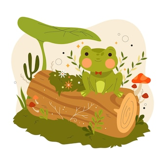 Ilustración de rana plana orgánica