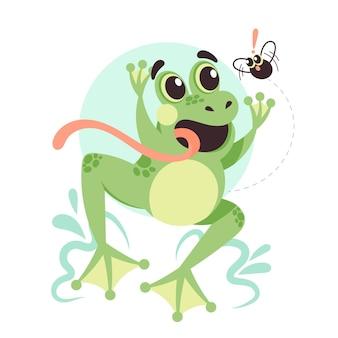 Ilustración de rana sonriente de dibujos animados